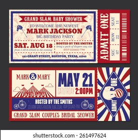 Birthday Party or Wedding Save the Date Ticket Invitation for a Circus or Carnival themed birthday, wedding or baby shower