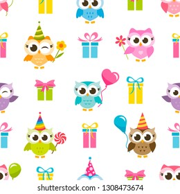 Birthday pattern with gifts and owls