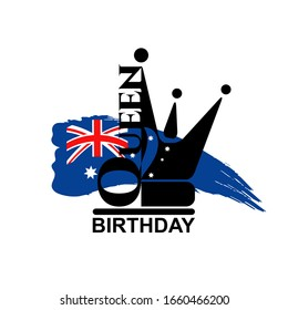 Birthday of Queen's Australia greeting card. Queen crown black icon with hand drawn Australia blue flag.