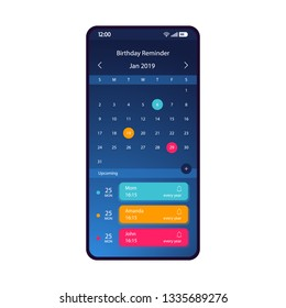 Birthday reminder smartphone interface vector template. Mobile app page blue gradient design layout. Birthday calendar, organizer screen. Flat UI for application. Holiday notifier. Phone display