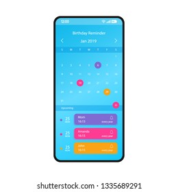 Birthday reminder smartphone interface vector template. Mobile app page blue design layout. Birthday calendar, organizer screen. Flat UI for application. Holiday alarm, notification. Phone display