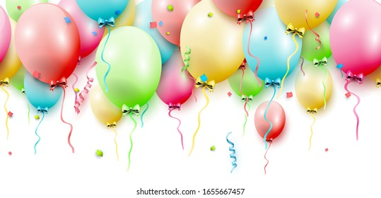 Birthday seamless border with colorful balloons on white background
