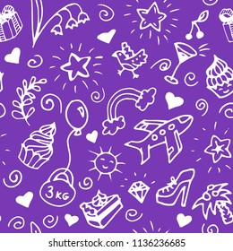 Birthday seamless handdrawn pattern, doodle. Vector illustration of flowers, cakes, hearts, stars, shoes, rainbow, toy ballon, bird, palm, brilliant, diamond, cherry, clouds, sun, wine glass.