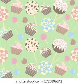 Birthday seamless pattern - caramel, chocolate, marshmallows, pops, lollipops on a yellow background