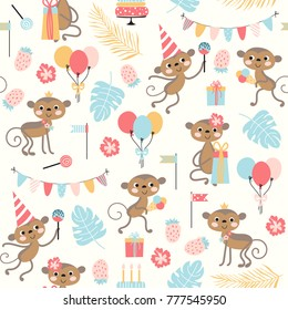 Birthday seamless pattern with cute monkey, cake and other holiday symbols. Vector background for children.