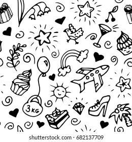Birthday seamless pattern, doodle. Vector illustration of flower, cake, heart, airplane, star, dumbbell, shoes, rainbow, toy balloon, bird, palm, brilliant, diamond, wine glass, cherry, clouds, sun.