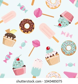 Birthday seamless pattern with sweets. Girly. For print and web.