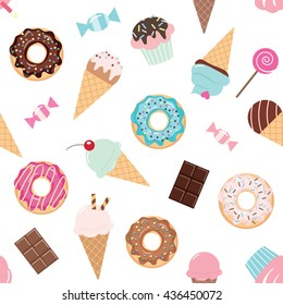Birthday seamless pattern with sweets - ice cream, donuts, cupcakes, chocolate bar, candies.