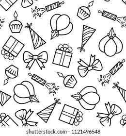 Birthday seamless pattern. Vector monochrome background with outline icons. Coloring page for adult