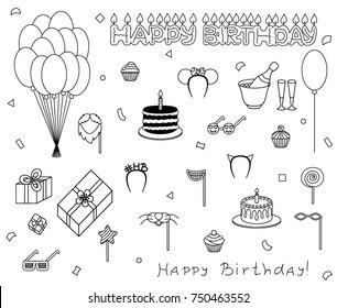 Birthday set icon vector illustration sketch celebration holiday