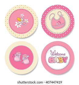 Birthday supplies. Set of colorful stickers with baby's accessories for a girl's birthday party design