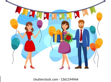 Birthday, Surprise Party Flat Color Illustration. Girl, Young Woman Holding Box and Man with Flowers Cartoon Character. Mother and Father Presenting Daughter Birthday Gift. Holiday Decorations