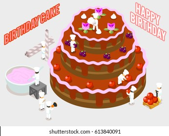 Birthday sweet food decoration. Isometric vector people decorate a cake illustration