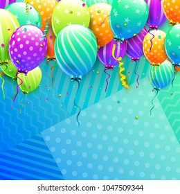 Birthday template with birthday balloons in trendy colors on geometric background