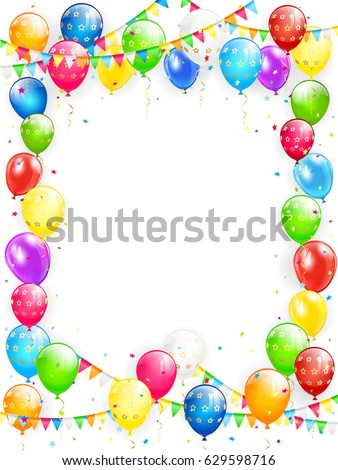 Birthday Theme Frame Flying Colorful Balloons Stock Vector (Royalty ...