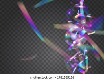 Birthday Tinsel. Falling Confetti. Shiny Celebrate Sunlight. Pink Laser Texture. Iridescent Background. Party Burst. Webpunk Foil. Holiday Art. Blue Birthday Tinsel