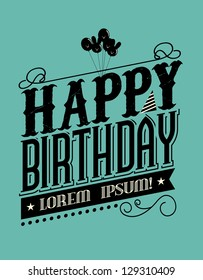 Birthday typography template vector/illustration
