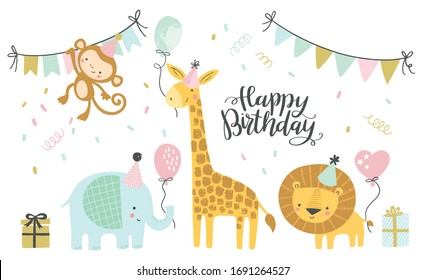 Birthday vector illustrations. Set of cute cartoon jungle birthday animals illustration for greeting, invitation kids birthday card design