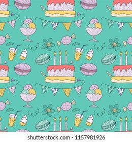 Birthday vector seamless pattern with party sweets. Cute greeting illustration with cakes; candles, macarons and flags.