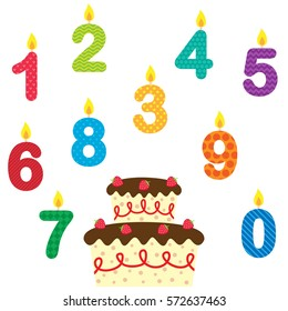 Birthday vector set of candles and cake on a white background
