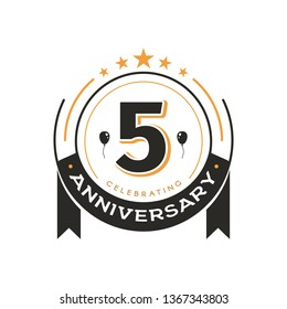 Birthday vintage logo template 5 th anniversary circle retro isolated vector emblem. Five years old badge on white background