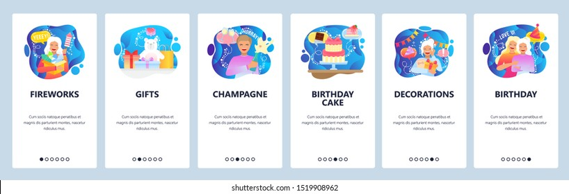 Birthday web site and mobile app onboarding screens. Menu banner vector template for website and application development with blue liquid abstract shapes. Cake, decorations, fireworks, gifts champagne