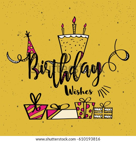 Birthday Wishes Card Design With Different Elements In Hand Drawn Doodle Style