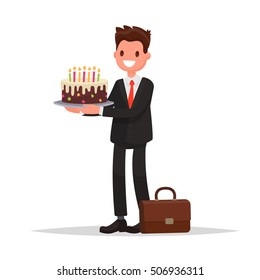 Birthday at work. Office employee or a businessman holds a cake. Vector illustration in a flat style