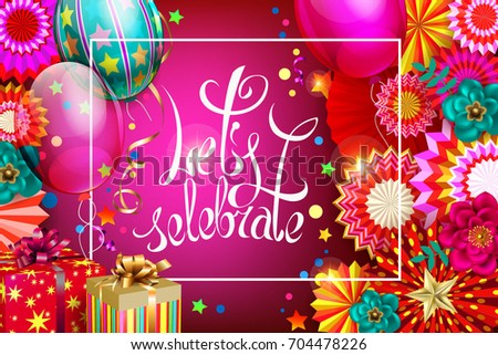 Birthdays Abstract Festive Background With Hanging Paper Fans And Balloons