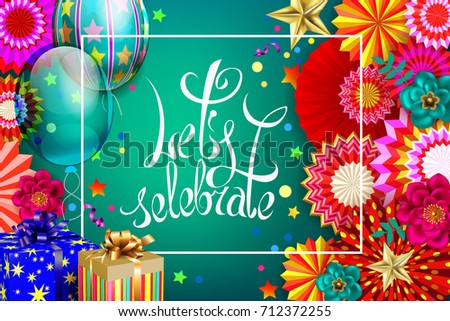 Birthdays Abstract Festive Background With Hanging Paper Fans And Balloons On Green Backdrop