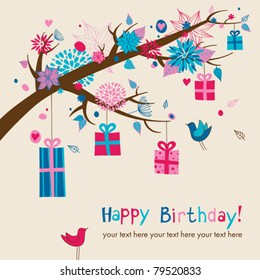 Birthday's card with hanging gifts on a branch