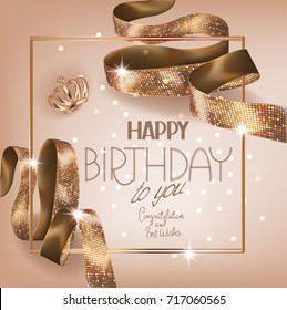 Birthtday greeting card with gold curly ribbon with pattern. Vector illustration