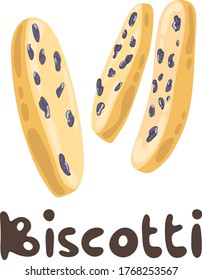 Biscotti with raisins as a traditional italian pastry on white background. Vector biscotti illustration. Hand drawn cantuccini biscuits. Sweet food menu design elements.