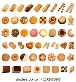 Biscuit bread coockies icon set. Cartoon set of biscuit bread coockies vector icons for web design