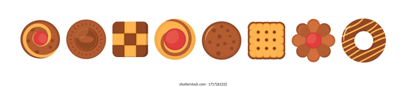 Biscuit bread cookies icon set. Big set different colorful pastry cookie. Set of different chocolate and biscuit chip cookies, gingerbread and waffle isolated on white background. Vector illustration.