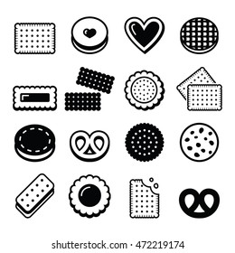 Biscuit, cookie - food, sweets vector icons set