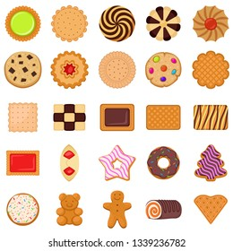Biscuit icons set. Flat set of biscuit vector icons for web design