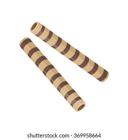 biscuit sticks with chocolate stripes on a white background