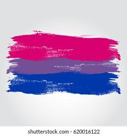 Bisexual pride flag in a form of brush stroke. Brush stroke style. Vector EPS 10