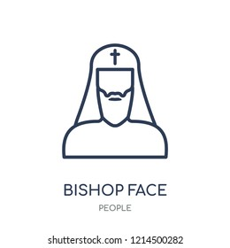 Bishop face icon. Bishop face linear symbol design from People collection. Simple outline element vector illustration on white background.