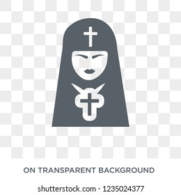 Bishop face icon. Trendy flat vector Bishop face icon on transparent background from People collection.