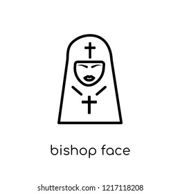 Bishop face icon. Trendy modern flat linear vector Bishop face icon on white background from thin line People collection, editable outline stroke vector illustration