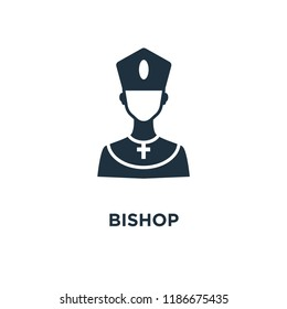 Bishop icon. Black filled vector illustration. Bishop symbol on white background. Can be used in web and mobile.