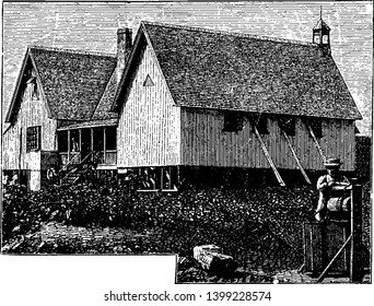 Bishop Patteson House in Norfolk Island who was selected as the first Bishop of Melanesia, vintage line drawing or engraving illustration.