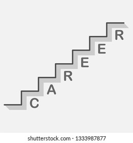 bisiness career ladder icon on gray background with text