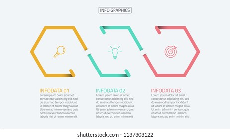 Bisiness infographic design vector with icons and number options template. Timeline with 3 steps or process. Can be used for workflow diagram, business step options, presentation or web design.