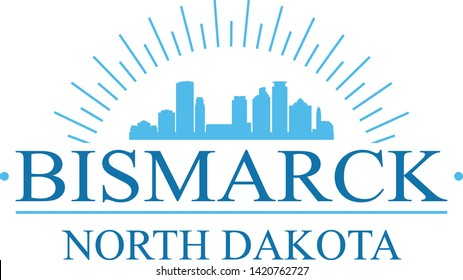 Bismarck North Dakota. Banner Design. City Skyline. Silhouette Vector. Famous Monuments.