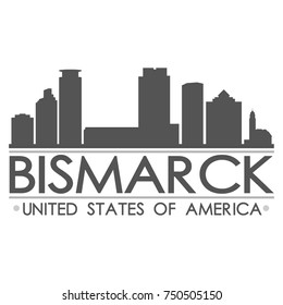 Bismarck Skyline Silhouette Design City Vector Art Famous Buildings