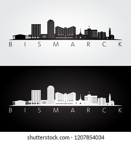 Bismarck, USA skyline and landmarks silhouette, black and white design, vector illustration.