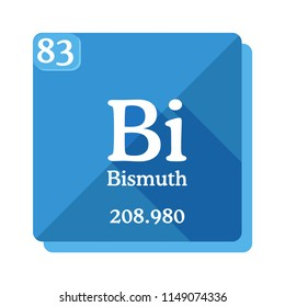 Bismuth  Bi - element of the Periodic table. Flat icon with long shadow on blue background.